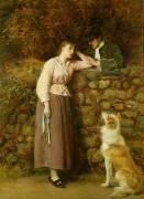 Conversation d'un Couple au-dessus d'un mur (John Everett Millais) - Muzeo.com