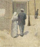 Couple dans la rue (Angrand Charles) - Muzeo.com