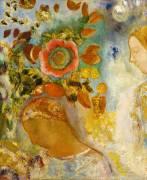 Deux Jeunes Fille avec des Fleurs (Odilon Redon) - Muzeo.com