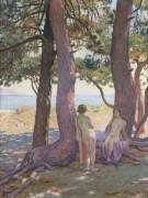 Deux Nus sous les Pins (Theo van Rysselberghe) - Muzeo.com