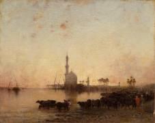 En Egypte : l'abreuvoir au crépuscule (Berchère Narcisse) - Muzeo.com