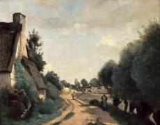 Environs d'Arras - Chaumière au bord d'une route (Jean-Baptiste Camille Corot) - Muzeo.com