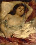 Femme demie-nue, couchée : la rose (Auguste Renoir) - Muzeo.com