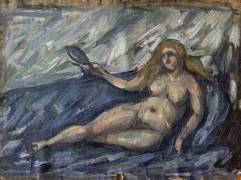 Femme nue au miroir (Paul Cézanne) - Muzeo.com