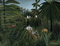 Jaguar attaquant un Cheval (Henri Rousseau) - Muzeo.com