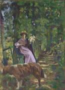L'Allée, dit aussi Sous-bois à la dame au chien (Vuillard Edouard) - Muzeo.com
