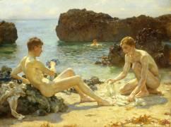 Le bain de soleil (Henry Scott Tuke) - Muzeo.com