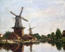 Moulins en Hollande (Eugène Boudin) - Muzeo.com