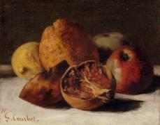 Nature morte aux fruits : pommes et grenades (Courbet Gustave) - Muzeo.com