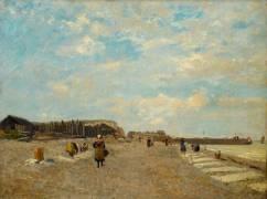 Normandes étendant du linge sur une plage (Eugène Boudin) - Muzeo.com