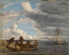 Pêcheurs en rade du Havre (Eugène Boudin) - Muzeo.com