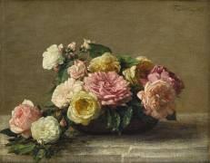 Roses dans une coupe (Fantin-Latour Henri) - Muzeo.com