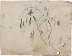Vase cornet décoré d'avoine et de papillons (Emile Gallé) - Muzeo.com