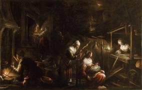 Interieur d'un ménage ou Les fileuses (Jacopo Bassano) - Muzeo.com
